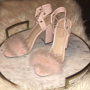 Topshop ruffle sandals pink